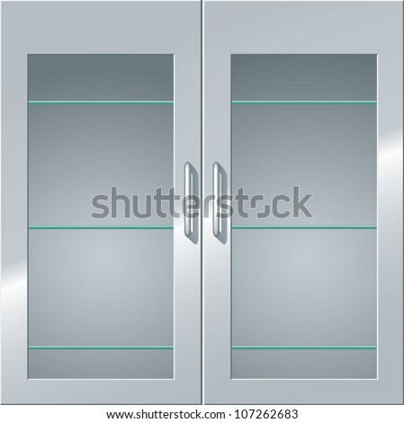 Front view of a metal cabinet with glass doors and shelves. - stock photo