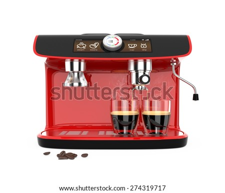 Front view of a red coffee machine brewing espresso in two glasses. Original design. 3D rendering image with clipping path. - stock photo