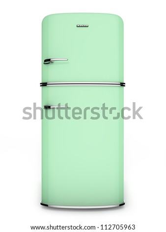 Front view of a retro green refrigerator - stock photo