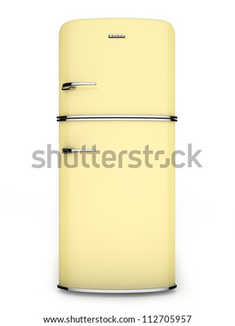 Front view of a retro yellow refrigerator - stock photo