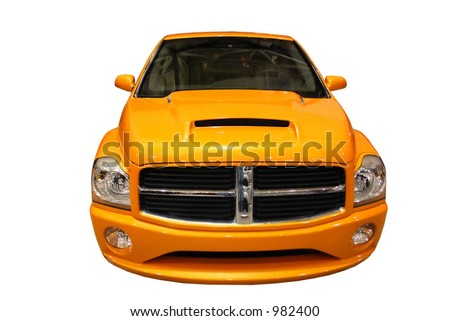 Front View Of A Sporty Yellow Pickup Truck Isolated Over White - stock photo