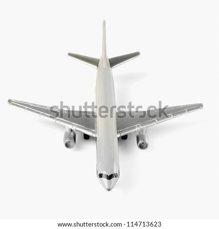 Front view of a toy airplane - stock photo