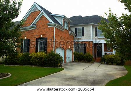 Front view of a typical American residential house. More with keyword group11