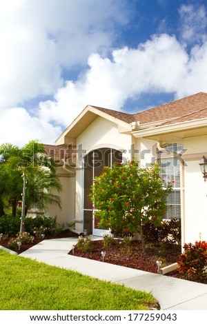 Front view of a typical villa in southwest florida - stock photo