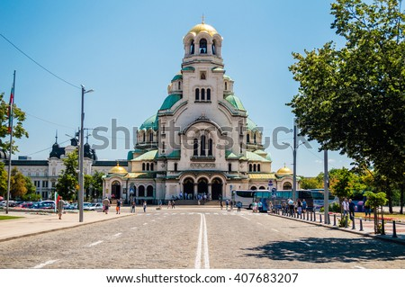 Front view of Alexander Nevsky Cathedral in Sofia, the capital of Bulgaria - stock photo