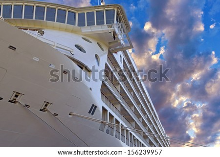 Front view of anchored liner   - stock photo
