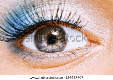 Front view of beauty female eye with blue make up it is large. - stock photo