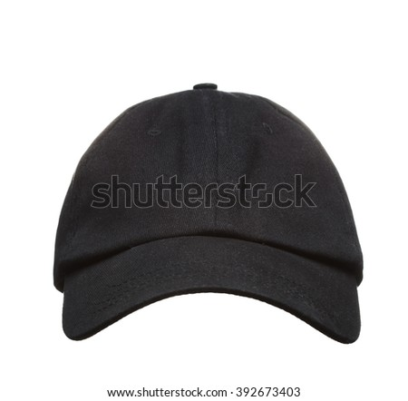 Front View of Black baseball Cap Isolated on White Background - stock photo