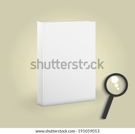 Front view of blank book with magnifying glass. Raster version - stock photo