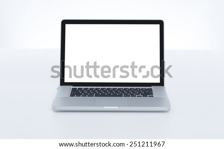 Front view of blank screen laptop computer - stock photo