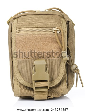 Front view of Brown Tactical pouch in White background - stock photo
