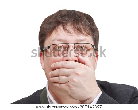 front view of businessman's hand closing mouth - hand gesture isolated on white background - stock photo