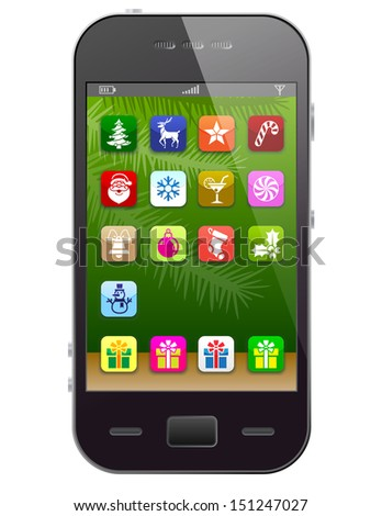 Front view of christmas phone isolated on white. New Year symbols like apps icons. Qualitative illustration for new year's day, christmas, winter holiday, new year's eve, technology, communication. - stock photo