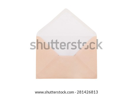 Front view of close up open envelope, isolated on white background. - stock photo