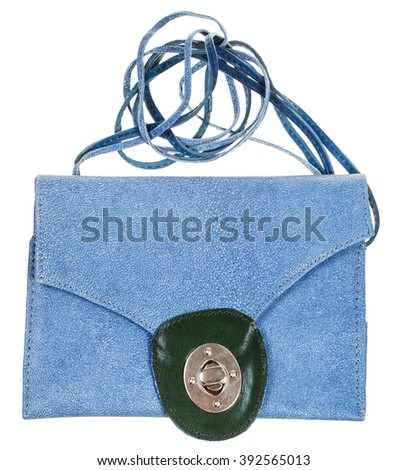 front view of closed blue clutch bag from natural stingray leather isolated on white background - stock photo