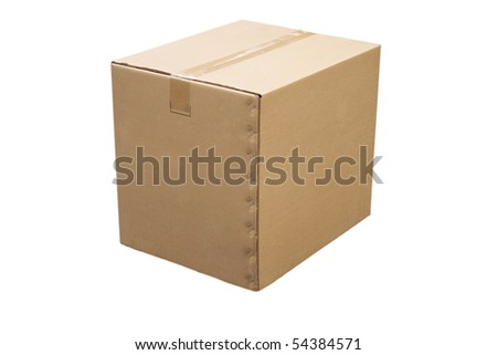 front view of closed cardboard box on white background - stock photo