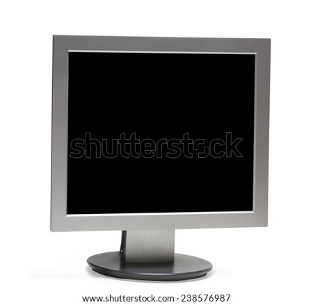 Front view of computer monitor -isolated with clipping path - on white background. - stock photo