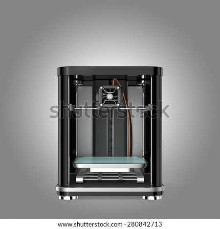 Front view of 3D printer . 3D rendering image with clipping path. - stock photo