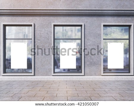 Front view of dark concrete shop exterior with blank posters on windows. Mock up, 3D Rendering - stock photo