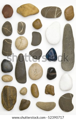 front view of few colored stones arranged - stock photo