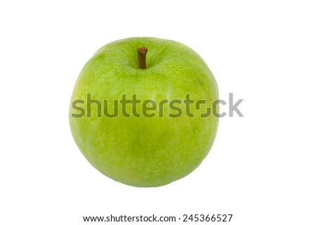 Front view of Green Granny Smith apple isolated on white - stock photo