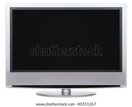Front view of LCD with blank black screen. Isolated on white background. - stock photo