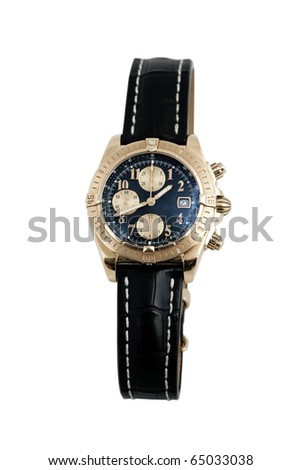 front view of luxury watch, black leather and gold - stock photo