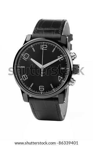 front view of luxury watch, black leather and silver - stock photo