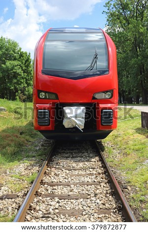 Front View of New Electric Engine Train - stock photo