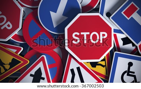 Front view of numerous french traffic road signs. Concept image for background - stock photo