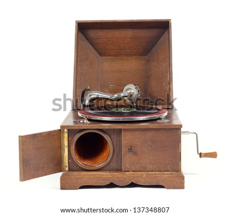 Front view of old wooden gramophone against white background - stock photo