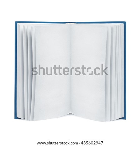 Front view of open blank book with textured old paper pages. Isolated with clipping paths on white - stock photo