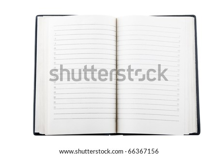 front view of open notebook on white background - stock photo