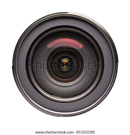 Front view of photo lens isolated on white background - stock photo