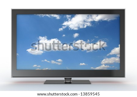front view of plasma tv - stock photo