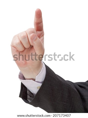 front view of pressing forefinger - hand gesture isolated on white background - stock photo