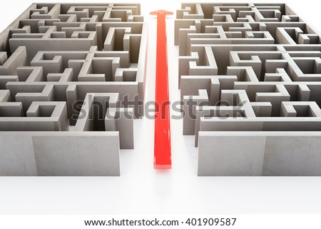 Front view of red arrow cutting through a complicated maze. 3D Rendering - stock photo