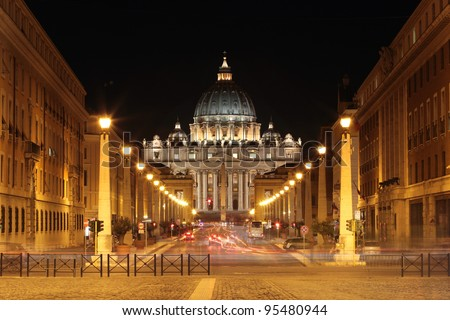 Front View of Saint Peter's Basilica,Vatican at night long exposure photo with blured cars - stock photo