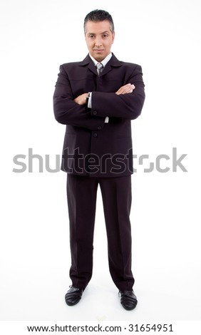 front view of smiling businessman with crossed arms on white background - stock photo