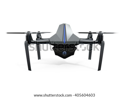 Front view of surveillance drone isolated on white background. 3D rendering image with clipping path available. - stock photo