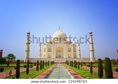 Front view of Taj Mahal, India. One of the seven wonders of the world - stock photo