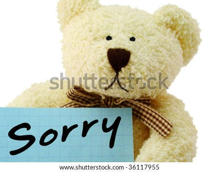 """Front view of teddy bear toy with """"Sorry"""" note, isolated on white background - stock photo"""