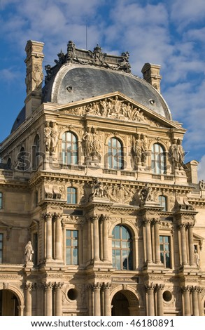 Front View Of The Louvre Palace In Sunlight - stock photo