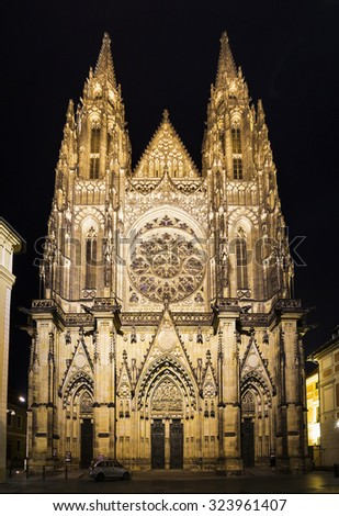 Front view of the main entrance to the St. Vitus cathedral in Prague Castle, Czech Republic - stock photo