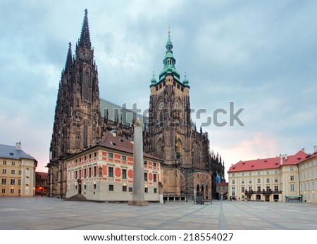 Front view of the main entrance to the St. Vitus cathedral in Prague Castle in Prague, Czech Republic - stock photo
