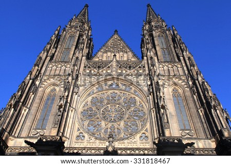 Front view of the main entrance to the St. Vitus Cathedral in Prague Castle in Prague, Czech Republic.  - stock photo