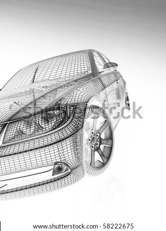 front view of the modern model cars - stock photo