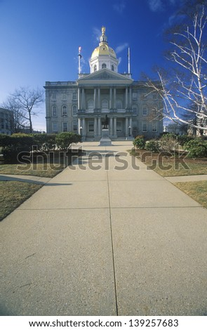 Front view of the State Capitol of New Hampshire in Concord, NH - stock photo