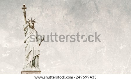 Front view of the Statue of Liberty in New York City - stock photo