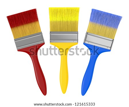 front view of three paintbrushes in different colors (3d render) - stock photo